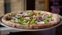 Veggie: Fresh mozzarella, sea salt, E.V.O.O, mushrooms, onions, green peppers. | $11.85